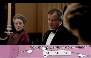 Dame Maggie Smith, how many sperms are swimming?