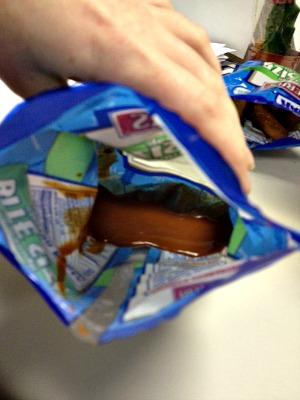 I dumped half the bottle of hot sauce into the remains of a Herr's pretzel  bag