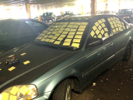 a car got post-it'ed