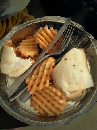 Tofu burrito, fries, and cutlery. Huzzah!