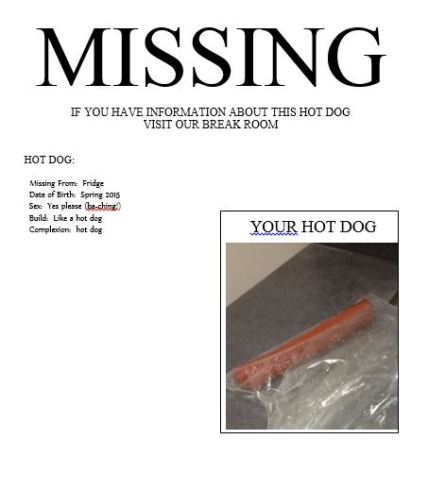 missing hot dog